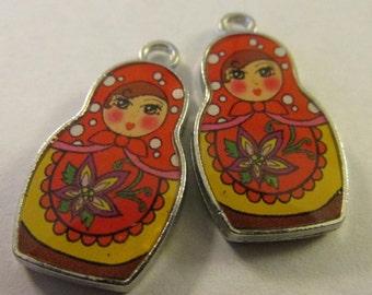 Russian Matryoshka Doll Charm-Pendant, 25mm, Set of 2