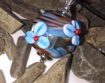Necklace, choker, flower bead, pendant, lampwork bead, glass bead, pearl necklace, gift for you