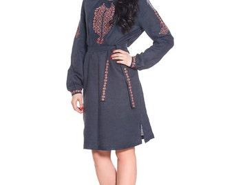 IN STOCK Beautiful dark blue ethnic dress, 100% linen. Fee SHIPPING. Boho embroidered dress. Vyshyvanka. Ukrainian national cloth