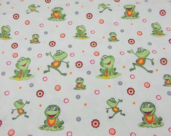 Cotton fabric children's fabric with frogs
