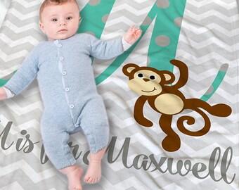 Monkey baby gift etsy personalized baby blanket baby initial blanket monkey baby blanket new baby gift negle Images