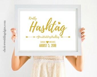 Wedding Hashtag Sign | Social Media Hashtag | Capture The Love Instagram Sign | Gold Wedding Sign | SKU# CWS306_1411C