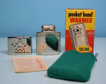 Vintage Pocket Hand Warmer By Soling With Original Box, Pouch And Instructions
