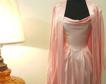 Vintage 80s Rose Pink Designer Gown with Batwing Cape, Size 3/4 (small fit)