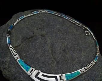 Opal blue necklace, meander-greek key, sterling silver, jewel greek, bijoux meander colliers, griechischen halsketten, collane meander greco