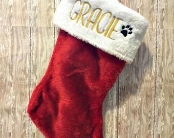 Custom monogrammed Pet Christmas stocking