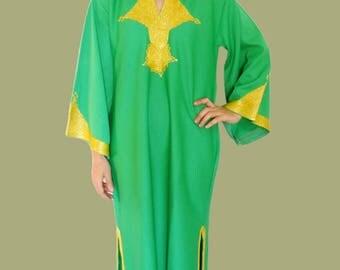 Green tunic dress maxi gold kaftan dress green tunic dress gold evening dress maxi moroccan kaftan Dress caftan Large Vintage 1970s