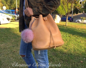 Leather Pouch, Leather Bucket Bag, Shoulder Bag, Made from 100% Cowleather In Greece by Christina Christi Jewels.