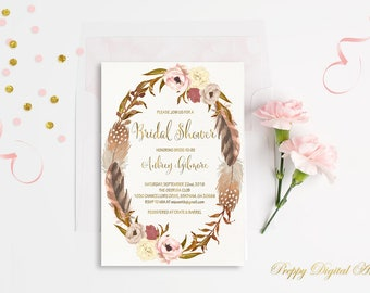 Floral Bridal Shower Invitation Boho Bridal Shower Ivory Invite Floral Wreath Bridal Party Feather Bridal Shower Gold Foil Typography Invite