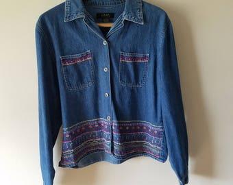 Vintage Jean Jacket / Jean Jacket / Embroidered Jean Jacket