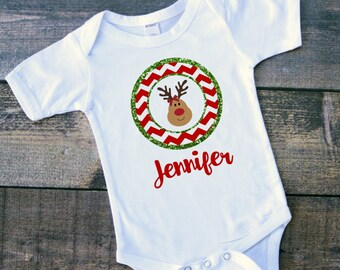 Baby girl Christmas reindeer bow glitter chevron personalized bodysuit toddler tshirt