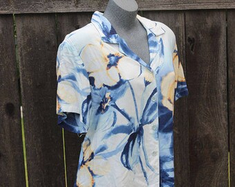 Vintage Button Up Blouse, Jams World, Hawaiian Print, Blue, Large Floral, 90's, Button Down Shirt, Made in the USA, Plus Size, Size XL