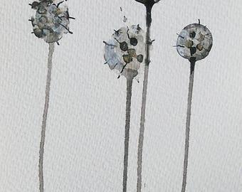 SMALL POD APRIL...art on paper, abstract art, small artwork, ink, acrylic art, botanical art, painting