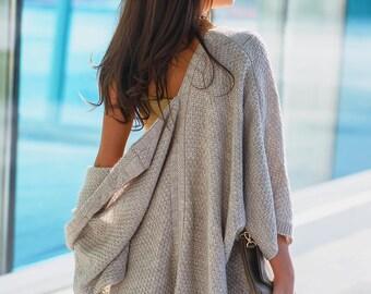 Oversized knitted cardigan light beige Short knit cardigan Bohemian kimono cardigan Womens sweater Knitted womens cardigan Long wool sweater