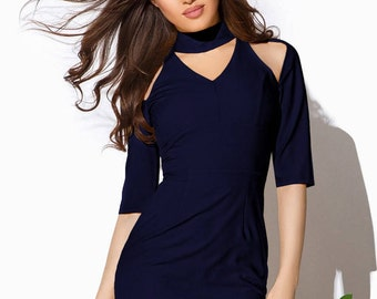 Spring Office dress Dark Blue Dress casual wear Midi gown Short sleeve dress Womens dress Flat cut Knee gown Summer dress Office