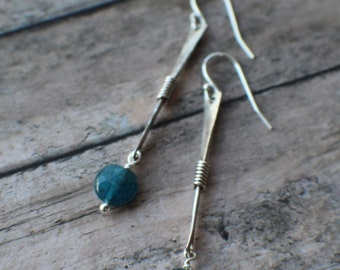 Apatite Earrings, Natural Blue Gemstone Earrings, Sterling Silver Earrings, Rustic Jewelry Handmade Earrings, Minimalist Jewelry