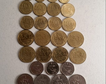 34 france vintage coins 1960 - 1992  -  coin lot centimes francs - world foreign collector money numismatic a47