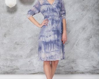 Wrap dress, in indigo color, hand tie & dyed, print  silk