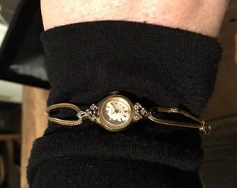 Vintage 14k Ladies Hamilton Watch Traveler's Insurance Diamond chips