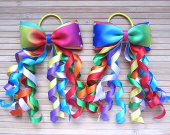 Pair of Rainbow Curly Hair Bows, Rainbow Corker Ribbon Bows, Rainbow Hair Bows, Rainbow Curly Ribbons