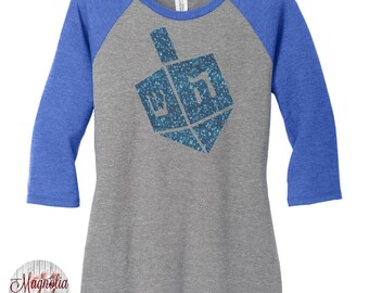 Dreidel Glitter, Hanukkah, Chanukah, Jewish Holiday, Festival of Lights, Womens Baseball Raglan Top in 5 colors, Sizes Small-4X, Plus Size