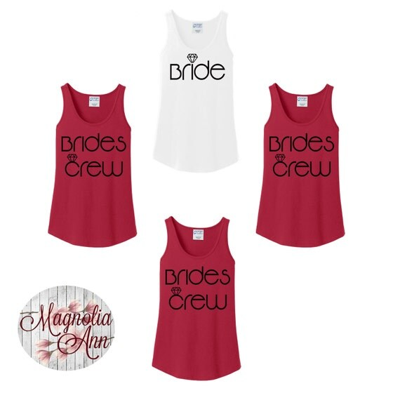 Brides Crew, Diamond, Bridal Party, Bridesmaids, Bachelorette, Wedding Party Women's Tank Top in 6 Colors in Sizes Small-4X, Plus Size