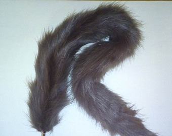 "Extra Long 30"" (76cm) Plush Grey Faux Fur Cat Tail with Gold or Silver Metal Plug  or Pink Silicone Plug"