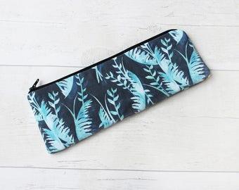 Dark Tropical Pencil Case - Handmade Stationery - Zipper Pouch - Tropical Purse