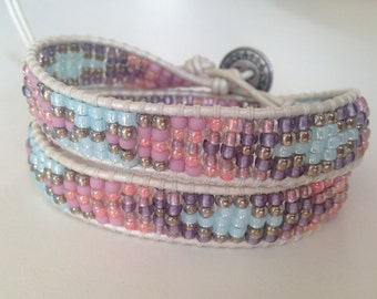 Pink and Blue Beaded Friendship Bracelet, Summer Bracelet, Statement Bracelet, Pink Aztec Tribal Bracelet, White Leather Wrap Bracelet