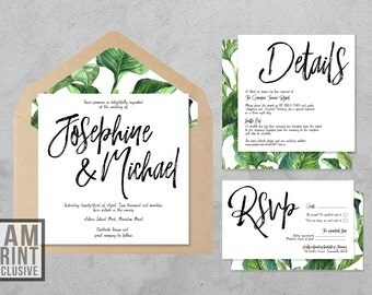 Tropicana Wedding Invitation Suite - Printed - Romantic - Invite, Save the Date, RSVP, Thank You Cards - Customised