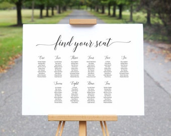 Printable Wedding Seating Chart // Modern Minimal Seating Plan // Elegant Wedding Table Chart // Calligraphy Wedding Sign Black and White