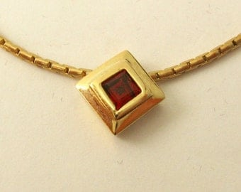 Genuine Solid 9ct Yellow Gold January Birthstone GARNET SLIDE Pendant