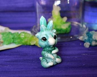 Emerald Dragon Element Stone.  OOAK Handmade Fantasy Creature art doll. Miniature figurine