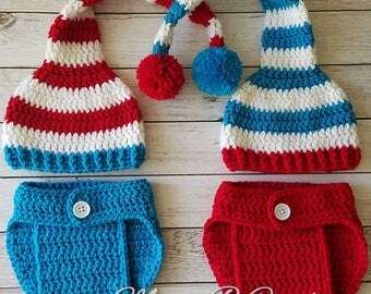 Crochet Thing 1 and Thing 2 Baby Sets, Dr Seuss Baby Sets, Thing 1 and Thing 2 Baby Sets, Thing 1 and Thing 2 Twin Set, Crochet Baby Set