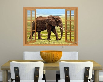 Elephant print, Window view, Animal print, Jungle animals, Landscape photo, Landscape print, Elephant photo, Nursery decor, Nursery print