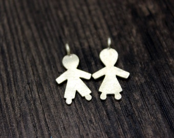 Sterling Silver Boy and Girl Charm, Children Charms, Kids Charms,Bracelet Charms