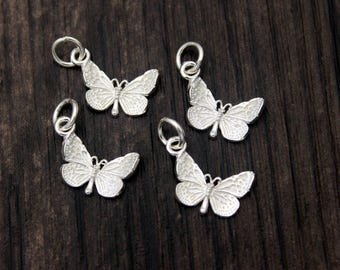 1PC Sterling Silver Butterfly charm,Sterling Silver butterfly pendant,Bright silver butterfly, Butterfly necklace, Butterfly jewelry