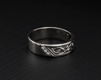 Vintage style wedding band, Silver nature ring, Leaves band, 5mm silver ring, Men or women wedding band sterling silver, Anniversary ring