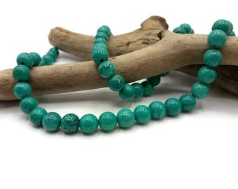 20 beads Turquoise natural 8 mm - turquoise - gem stone - A180