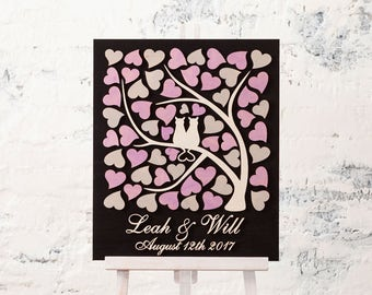 3D Wedding Guest Book Alternative Wedding Tree with Cats Wood guest book Custom Guest book Rustic Wedding Guestbook Wedding Sign Guest book