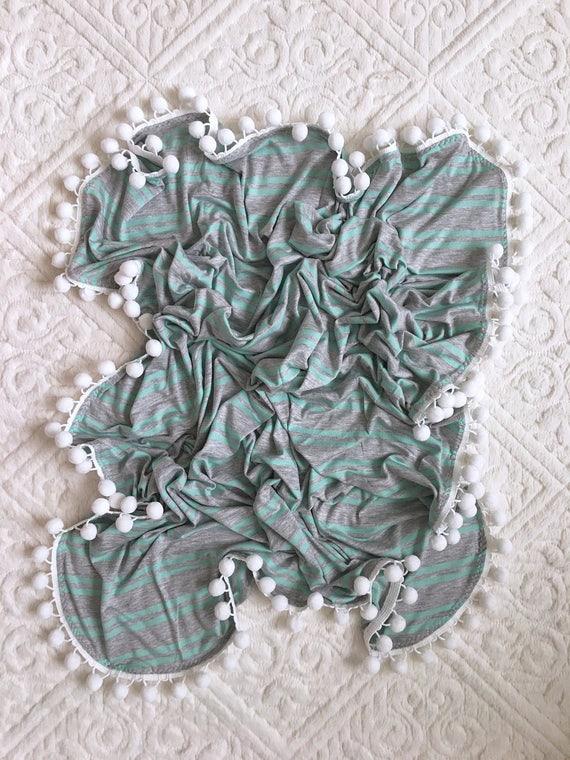 Pom Pom Blanket, Pom Pom Swaddle, Grey Aqua Pom Blanket, Baby Blanket, Crib Blanket, Blankie, Gender Neutral Blanket, Stripe Pom Pom Blanket