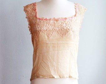 1920's Silk Camisole with Crochet Detail/Bust 34""