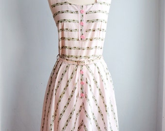 1950's Novelty Print Spring Dress with Bolero/ Waist
