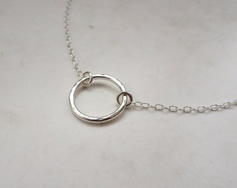 Silver Choker Necklace - Silver Circle Choker - Choker Chain Necklace - Sterling Silver Hoop Necklace - Circle Necklace