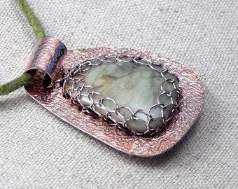 Green White Jaspagate Wire Net Captured to Textured Copper Bezel Pendant Necklace