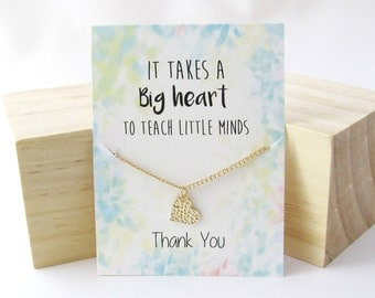 Teacher gift, gift for Teacher, Teacher jewelry, Thank you teacher, Best Teacher gift, Teacher thank you gifts, Dainty Heart necklace