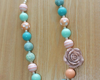 Tan Flower with Teal and Seafoam green Accents Chunky Bead Necklace