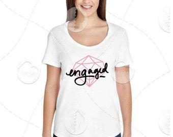 "Womens - Girls - American Apparel Premium Retail Fit ""Engaged"" Fashion Tee"