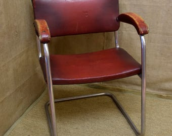 Vintage 1950s office chair red Rexine faux leather chrome frame & shaped arms