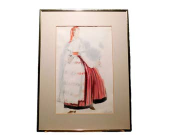 Vintage SIGNED WATERCOLOR and GOUACHE of European Estonian Woman in Traditional Clothing - Puhalepa